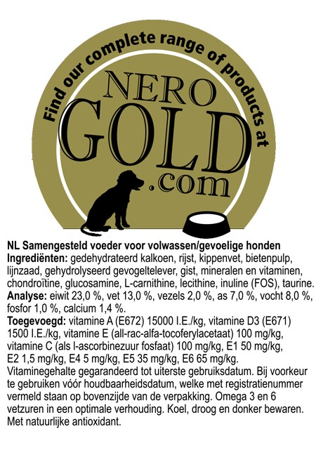 Nero Gold Hond Sensitive